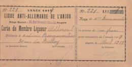 (Angers) Carte Et Son Reçu De Membre Ligueur - Ligue Anti-allemande De L'Anjou. 24 Rue Chevreul. (TTB) Curiosité. - 1914-18