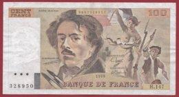"""100 Francs """"Delacroix"""" 1989---VF/SUP---ALPH.H.147 - 100 F 1978-1995 ''Delacroix''"""