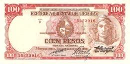 URUGUAY 100 PESOS 1967 PICK 43c XF+ - Uruguay