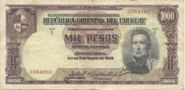 URUGUAY 1000 PESOS 1939 PICK 41c VF - Uruguay