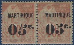 France Colonies Martinique N°14a* 5 Penché Tenant à Normal TTB Signé Calves - Martinique (1886-1947)