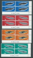 British Antarctic Territory 1977 Whale Conservation Set Of 4 In Marginal Imprint Blocks Of 4 MNH - British Antarctic Territory  (BAT)