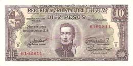 URUGUAY 10 PESOS 1939 PICK 37d AUNC - Uruguay