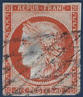 France Céres N°5d 40c Orange Obl 4 Retouchés Case 146 (2e Choix) RRR Signé Calves - 1849-1850 Cérès