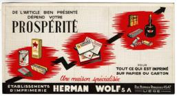 Buvard Ancien - Imprimerie HERMAN WOLF S.a. - Rue Herman Reuleaux 45-47 - Liège - 2 Scans - Buvards, Protège-cahiers Illustrés
