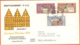 GERMANIA - GERMANY - Deutschland - ALLEMAGNE - 1978 - Europa Cept, Europamarke, Baudenkmäler - FDC - Bonn - FDC: Buste