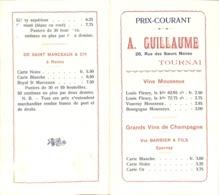 Prix-Courant A. Guillaume Tournai - Vins Mousseux, Champagne Epernay, Crémant... - Food