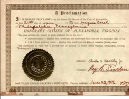 Alexandria Virginia USA - Pass Free Park To Honorary Citizen 1976 - 22 X 15 Cm - 2 Scans - Titres De Transport