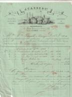 Rare Facture Cachetée Du 16 Décembre 1866 Vins Et Comestibles à Bordeaux J.Casse Et Cie Avec Timbre Napoléon III - Autres