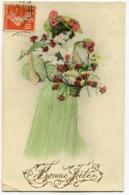 CPA - Carte Postale - Illustrateur - Portrait De Femme - Salut Des Fleurs  (I9924) - Frauen