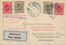 Serbie - Belgrado 19 7 28 Par Avion Via Essen 1 & Fürth-Nürnberg 20 7 28 Vers Dinslaken Allemagne - Serbie