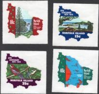 1974 NORFOLK ISLAND UPU Centenary, FREE FORM Stamps, Maps, MNH, Michel 160-163 - Ile Norfolk