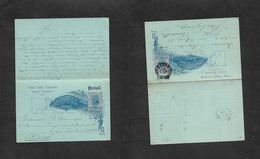 Brazil -Stationary. 1897 (27 Dec) SP - Belgium, Bruxelles (22-1-98) 80rs Star Issue Doble Stat Card, Used Way Out. VF. - Brazil