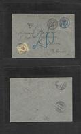France. 1888 (5 July) Bourg En Bresse - Switzerland, Geneve (6 July) Fkd Sage 15c Blue Tied Cds + Taxed 20c With Arrival - France