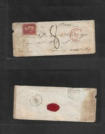 Bc - Malta. 1860 (Oct 3) GPO - France, Erat, Pyrinees (10 Oct) Fkd Early Envelope 6b 1d Red Perf Tied A-26 + Cds Charged - Ohne Zuordnung