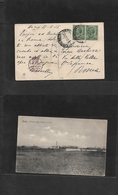 Libia. 1915 (21 Nov) Italian Post Office. HOMS, Tripoli - Roma. Ovptd Issue 5c Green Pair. Early Fkd Ppc + Censor Red Ca - Libia