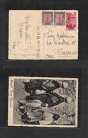 Libia. 1939 (22 Nov) Posta Militare / Nº 54. Tripoli - Firenze. Multifkd Ppc, Mixed Issues, Incl Tripolitania Ovptd Issu - Libia