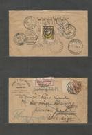 "Macau. 1938 (25 March) GPO - Yougoslavia, Zemun (10 May) Fwded + ""Retour Macau"" Mns (RRR) Various Cachet + Label + Rever - Macau"