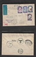 E-Estado Español. 1940 (15 Aug) Zaragoza - Alemania, Munich (20 Ago) Sobre Certificado Via Aerea Y Censura Con Franqueo - Non Classés