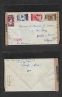 Marruecos. 1941 (7 Oct) Tanger - Belgica, Zambas (10 Oct) Sobre Franqueo Multiple. Una Censura Transito Madrid Y Nazi. B - Morocco (1956-...)