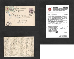 Switzerland. 1886 (8 Aug) Germany, Trier - Zurich (9 Aug) Germany Early Stationary Card 5 Pf Lilac Taxed, Insuff Paid An - Switzerland
