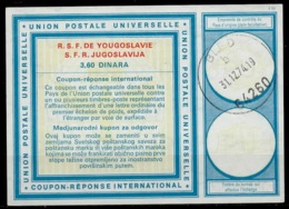 SLOVENIA / SLOVENIE / YUGOSLAVIA Vi20 3,60 DINARA Int. Reply Coupon Reponse IAS IRC Antwortschein O BLED 31.12.74 LD! - Slovenia