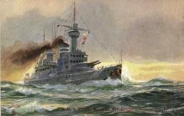"Illustrateur Signé German Navy S.M.S. ""Kaiser Wilhem Der Grosse""  RV TUCK'S - Guerre"