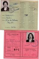 Université De Paris - 2 Cartes étudiante Faculté Des Sciences 1954 1956 - Diplômes & Bulletins Scolaires