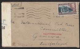 1942 Ceylon Colombo Brit Zensurstreifen + OKW Zensur (x Paris) & L1 Coupon-reponse - Double Censor - Ceylon (...-1947)