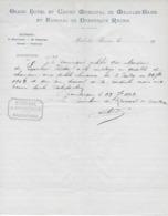 Certificat De Travail Du Grand Hôtel Et Casino Municipal De MALO Les BAINS Et KURSAAL De DUNKERQUE REUNIS Du 23/7/1912 - Old Professions