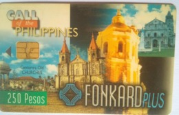 PLDT Chip Card 250 Pesos Century Old Churches , Small Chip, Glossy Surface - Filippine