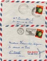 2 Lettre Bobo-Dioulasso 1959 - AOF Haute-Volta Burkina - Corne Caisse D'épargne - A.O.F. (1934-1959)