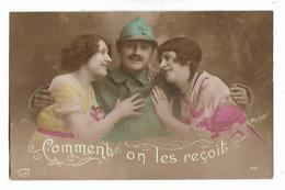 """Soldat    Avec 2  Femmes   """" Comment  On  Les  Reçoit  """" - Patriotic"""