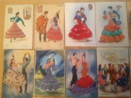 Lot 32 Cartes Brodée Espagne Tissu Couple Danse - Ricamate