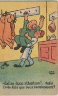 Illustrateur  : Pierre Ruyere ?  Le  Charcutier ,  Cochon - Künstlerkarten