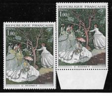 France 1972 - Variété Femmes Au Jardin De Monet - Y&T N° 1703 ** Neuf Luxe ( Couleur Jaune Absente) TB. - Varieteiten: 1970-79 Postfris