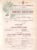 La Louvière - Concert Artistique 1909 Fanfare De Keramis, Régiment Des Grenadiers - Programmes