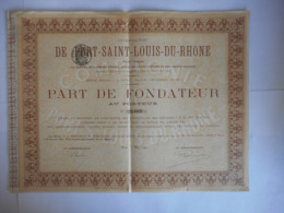 PORT SAINT LOUIS Du RHONE 1880          Place Vendome PARIS - Actions & Titres