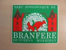 AUTOCOLLANT PARC ZOOLOGIQUE DE BRANFERE LE GUERNO MORBIHAN - Stickers