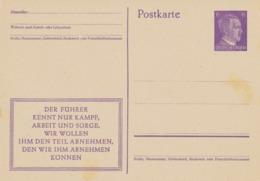 DEUTSCHES REICH 1943 Adolf Hitler 6 Pf GA-Postkarte Propagandavordruck: DER FÜHRER KENNT NUR KAMPF, ARBEIT UND SORGE. - Interi Postali