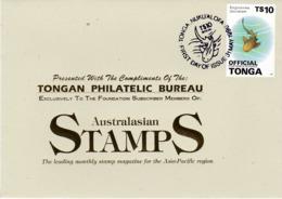 Tonga 1996 Official $ 10 Shark FDC - Tonga (1970-...)