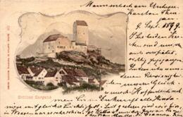 Schloss Sargans - Lithographie (116) * 9. 9. 1899 - SG St. Gallen