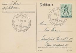 """DEUTSCHES REICH 1940 Tag Der Arbeit Ritter 6+4 (Pf) EF Kab.-Postkarte N. Frankfurt M. Sehr Selt. SST """"EUPEN 1 / 18.6.40- - Cartas"""