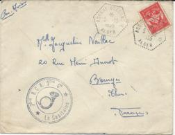 LETTRE 1955 AVEC TIMBRE DE FRANCHISE MILITAIRE ET CACHET DE AGOUNI GUEGHRANE - ALGER - - Franchise Militaire (timbres)