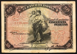SPAGNA SPAIN 50 PESETAS 1906  PICK #58a Lotto.2755 - [ 1] …-1931 : Eerste Biljeten (Banco De España)