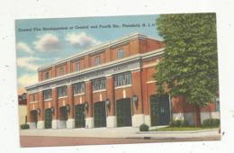 Cp , ETATS UNIS , PLAINFIELD , N.J. , Pompier , Central Fire Headquarters At Central And Fourth Sts. ,voyagée 1965 - Etats-Unis
