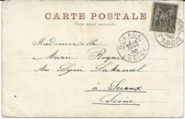 CARTE POSTALE 1900 AVEC TIMBRE AU TYPE SAGE ET CACHET CONSTANTINOPLE TURQUIE - Levant (1885-1946)