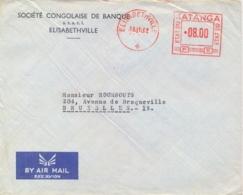 Katanga 1962 Commercial Airmail Cover From Elisabethville To Belgium With EMA Meter Franking 8,00 F. - Katanga