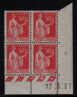 FRANCE  Coin Daté ** Type Paix 50c Rouge Yvert 283  12.3.37  Neuf Sans Charnière - Coins Datés