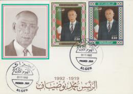 Carte  Maximum   1er  Jour   ALGERIE   Mohamed   BOUDIAF   1992 - Algeria (1962-...)